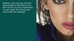 TG Captions: Supermodel cheeseburger challenge
